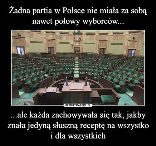 Żadna partia w Polsce nie miała za sobą nawet połowy wyborców... ...ale każda zachowywała się tak, jakby znała jedyną słuszną receptę na wszystko i dla wszystkich
