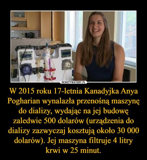 W 2015 roku 17-letnia Kanadyjka Anya Pogharian wynalazła przenośną maszynę do dializy, wydając na jej budowę zaledwie 500 dolarów (urządzenia do dializy zazwyczaj kosztują około 30 000 dolarów). Jej maszyna filtruje 4 litry krwi w 25 minut.